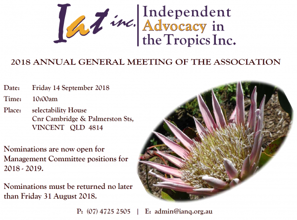 2018 AGM Details for Independent Advocacy in the Tropics Inc.